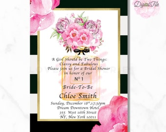 BRIDAL SHOWER Digital Invitation Blush Pink Peony Black and White Stripes Gold Modern and Chic DIY Invite-Loveys Paperie Shop-Paris