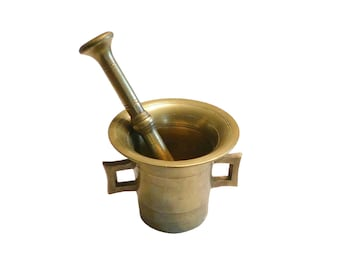 Large Mortar and Pestle Set, Vintage Solid Brass Mortar & Pestle, Apothecary, Farmhouse Kitchen, PA Estate Find, French Country Style