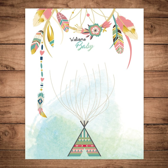 dreamcatcher boho baby shower printable guestbook poster