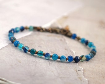 Blue agate bracelet for women, Minimalist gemstone jewelry, Handmade gift for bridesmaid, Teal wedding, Rustic present for her