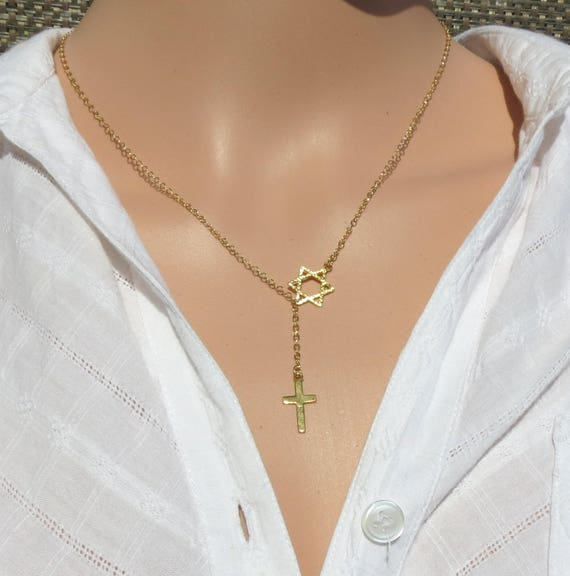 Gold messianic star of david cross necklace cross with magen david necklace jewish star cross messianic star of david necklace crucific aloadofball Gallery