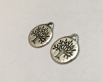 2 pc pewter small tree of life disc charm, nature charm, jewelry supplies