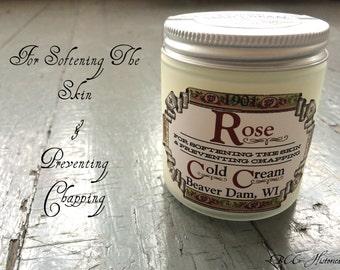 1901 Rose Cold Cream- Victorian Original Recipe Natural Cleanser Natural Moisturizer Natural Makeup Remover Bulgarian Rose Essential Oil