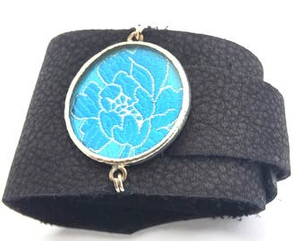 Leather Wrap Cuff with Turquoise Floral Silk Shi Piece