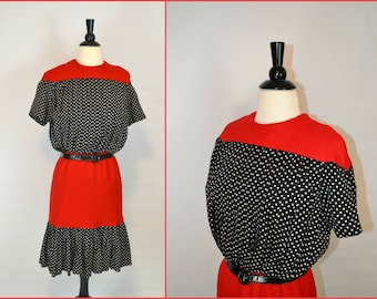 1970s Red, Black and White Polka Dot Dress by Lillie Rubin, Office Wear