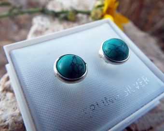 Turquoise Earrings Studs Sterling Silver 925 Handmade Gemstone Jewelry