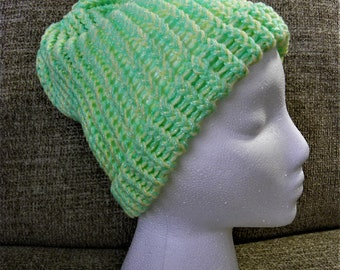 Bright Green and Yellow Shimmer Child's Knit Hat