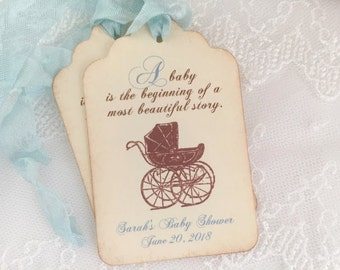 Boy Storybook Tags Baby Shower Blue Favor Tags Personalized Carriage Pram Set of 10