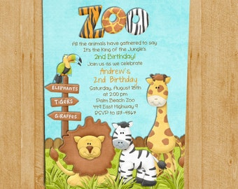 Jungle animals invitation blue animals themed birthday party zoo birthday invitation jungle animals custom and printable stopboris Images