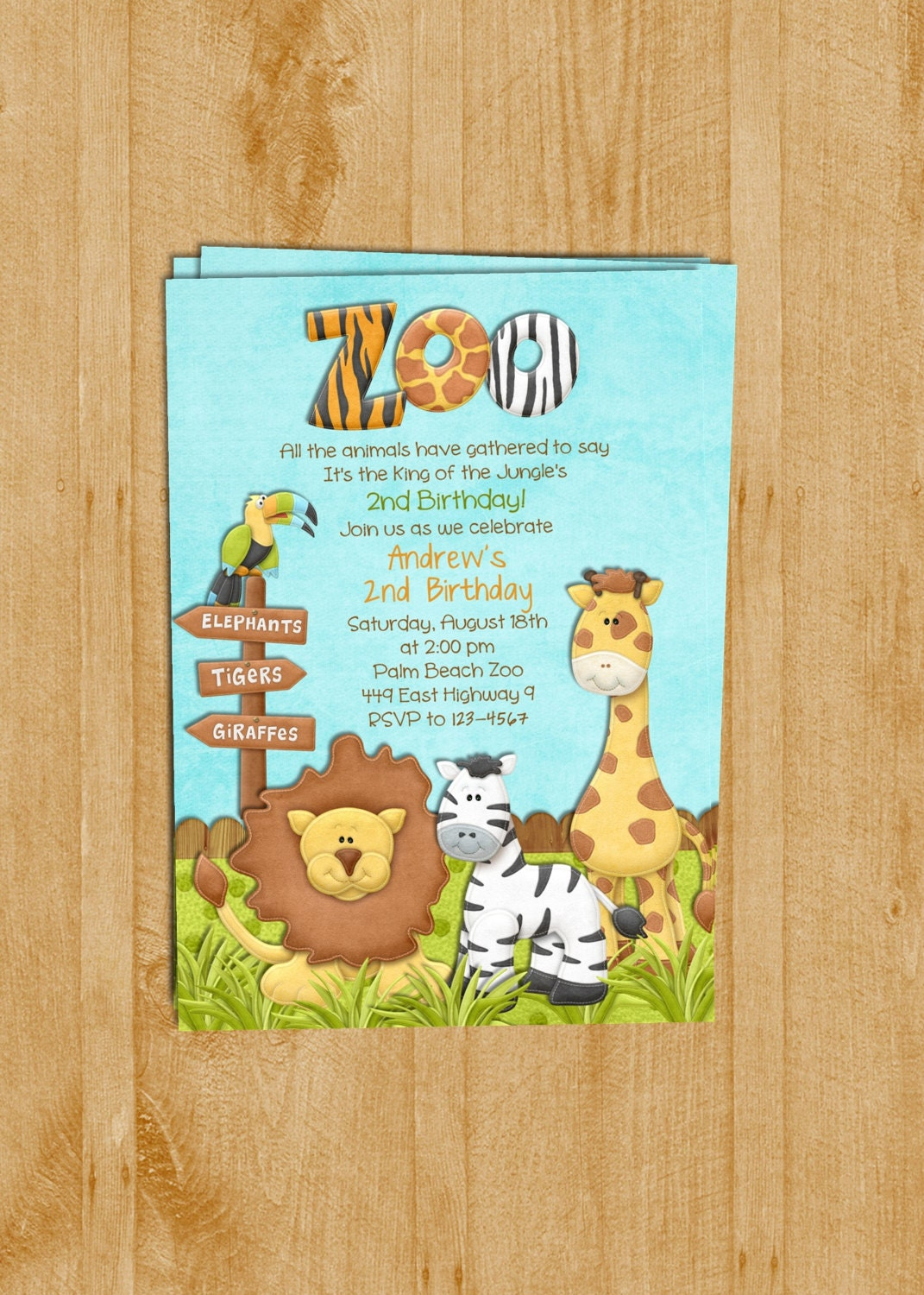 Zoo birthday invitation jungle animals custom and zoom stopboris Choice Image