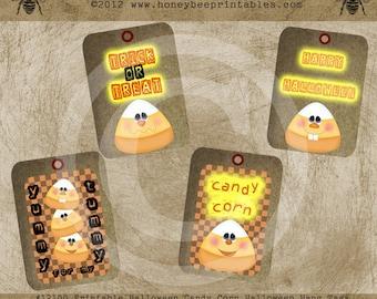 Printable Halloween Candy Corn Trick or Treat Hang Tags / Digital Download JPEG File- DIY U Print - OFG Team