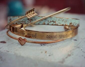 Inspirational | Kind Heart, Fierce Mind, Brave Spirit | Graduation | Encouragement | Best Friend Gift | Stackable Bracelet | Brave Bracelet
