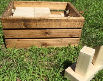 Handmade Wooden Block Set in Custom built wooden crate