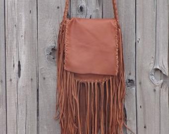 Brown possibles bag , Fringed leather handbag, Brown leather handbag