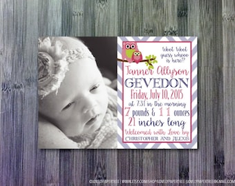 Woot Woot Owl Birth Announcements | BA15