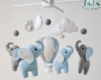 Personalized Elephant baby mobile, felt baby mobile, hot air balloon mobile, balloon mobile, felt elephant, elephant balloon mobile