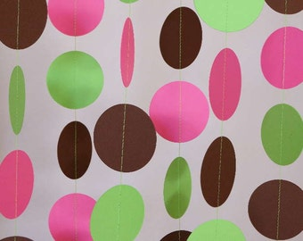 Pink, Lime Green and Brown Garland, Nursery Decor, Girl's Birthday Party, Baby Shower Decorations, 10 ft. long