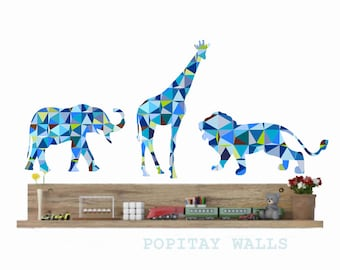 Nursery Animal Wall Decals, Lion Wall Decal, Giraffe Wall Decal,Elephant Wall Sticker,Blue Geometric animals,Baby Shower gift, Zoo animals