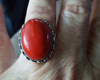 Red Coral Gemstone Ring-  size 8.5!