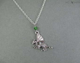 Dragon Charm Necklace - Silver