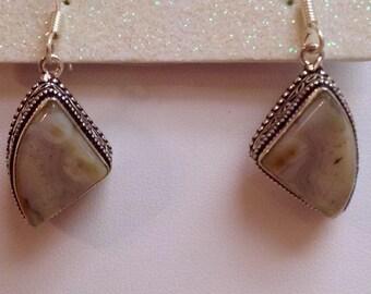 Sterling Silver Dendritic Opal Drop Earrings