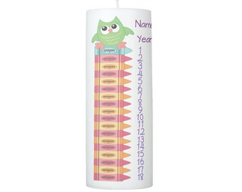 Owl And Crayons Birthday Countdown Candle 1
