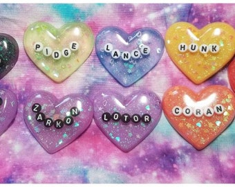 Voltron Paladin Sparkly Bubble Heart Pins