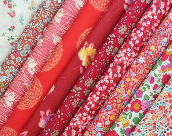 10 Liberty Tana Lawn - quilt scraps- 5''x5'' - RED