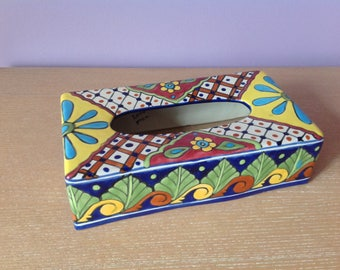 Vintage Mexican Studio Art Pottery Ceramic Kleenex Tissue Box Cover Handmade