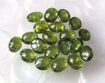 20 Pieces 5X4 MM Oval Shape Natural Chrome Diopside Cabochon Green Color Calibrated Untreated Loose Gemstone Lot Green Color Chrome Diopside