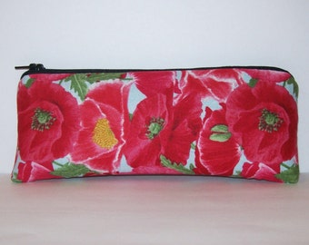 "Poppies Pipe Pouch, Pipe Case, Pipe Bag, Glass Chillum Cozy, Stoner Girl Gift, Floral Pouch, Hippie Purse, Vape Pen Case, Pouch - 7.5"" LARGE"