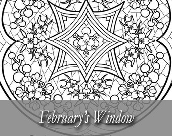 Printable Coloring Book Page for Adults - February Stained Glass Mandala with Violets in Art Nouveau Style Line Art