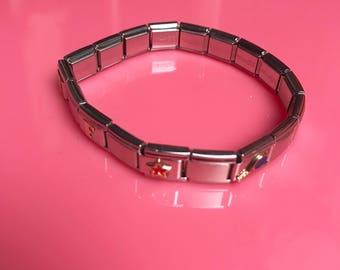Watchband style charm bracelet
