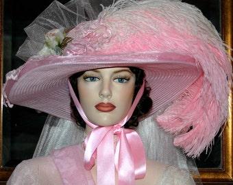 Pink Kentucky Derby Hat, Oaks Hat, Ascot Hat, Victorian Tea Hat Pink Fantasy Hat Southern Belle Hat Wide Brim Hat - Mademoiselle Aubrienne