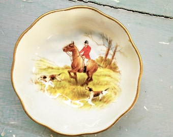 Vintage Royal Crown Derby Pin Dish. Decorative pin dish.  Trinket Dish. Hunting Scene. Horse Dish. Dog.  Bone China. Made in England