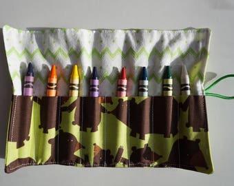 Bear print crayon roll, colouring roll, crayon holder, crayon roll,  crayon storage, art supplies, craft roll, stocking stuffer