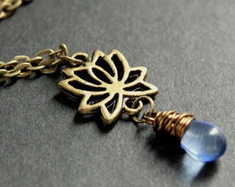 Lotus Flower Necklace. Bronze Lotus Necklace. Lotus Flower Charm Necklace. Lotus Charm Necklace. Bronze Necklace. Handmade Necklace.