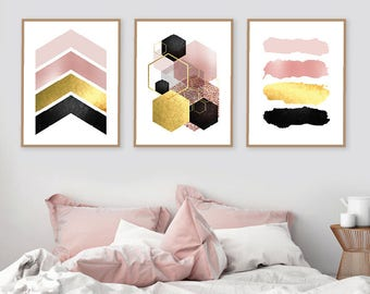 Printable Art, Set of 3 Prints, Downloadable, Scandinavian, Geometric, Print, Art, Wall Art, Poster, Pink Gold, Print Set, Decor, Trending
