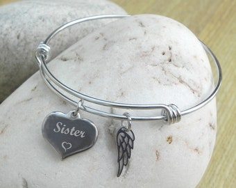 Sister Personalised Engraved Adjustable Wire Bangle