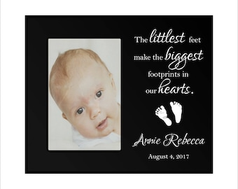 "Personalized Baby Picture Frame, ""The littlest feet make the biggest footprints in our hearts"", Custom Baby Photo Frame, Baby Shower Gift"