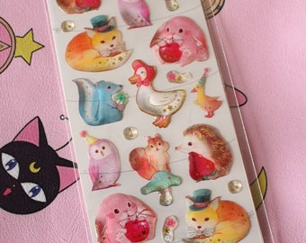 Puffy Kawaii Animal Stickers - Bunny, Hedgehog, Fox, Owl, Goose