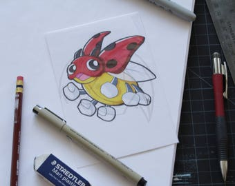 Pokemon Ledyba 4x6 marker drawing