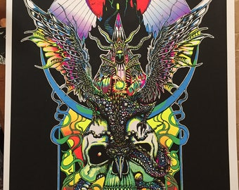 Xeethra, Black Witch of the Mountain BLACK LIGHT POSTER 3 color screen printed numbered and signed limited edition