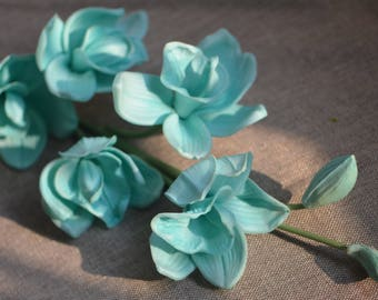Turquoise Cymbidium Orchids Real Touch Flowers Turquoise Blues Orchids DIY Wedding Flowers Centerpieces