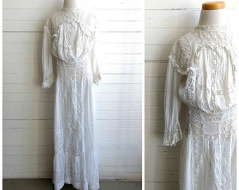 Antique Edwardian lace tea dress, antique lace dress, xxs