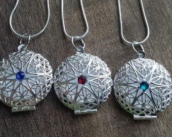 Round Aromatherapy Birthstone Locket with sterling silver snake chain ladies or little girls diffuser necklace for Essential Oils
