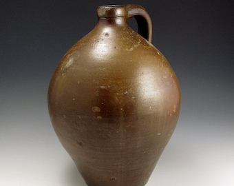 19th Century Salt-Fired Brown 4 Gallon Jug SHIPPING INCLUDED