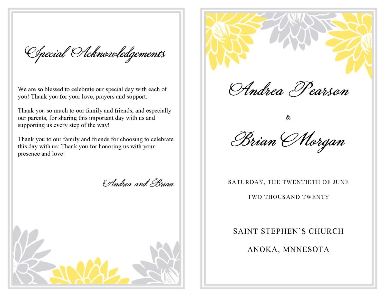Erfreut Wort Hochzeitsprogramm Vorlage Bilder - Entry Level Resume ...