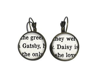 Gatsby and Daisy Earrings, The Great Gatsby Earrings, Book Page Earrings, Literature Earrings, Book Lover Earrings, F Scott Fitzgerald