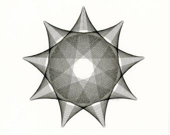 Original Black & White Drawing, Minimalist Art, Star Line Drawing, Office Art, Black and White Decor, Hand Drawn Original Ink Drawing 8x10